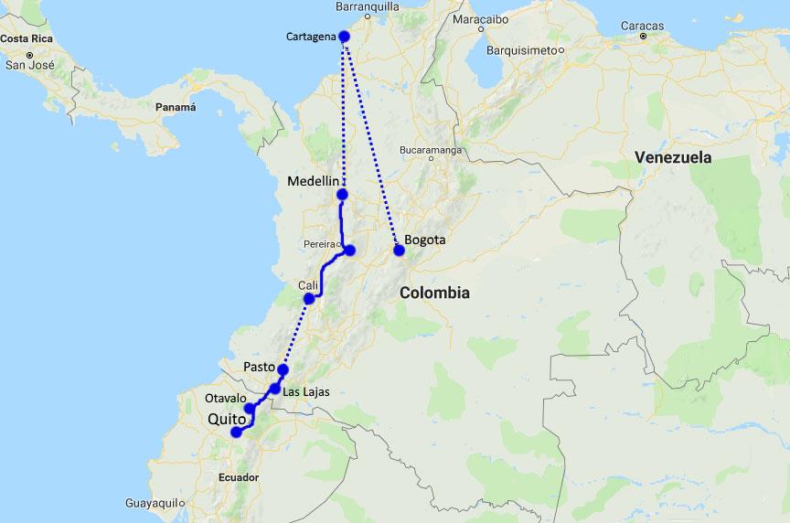 Reiserute Colombia og Ecuador