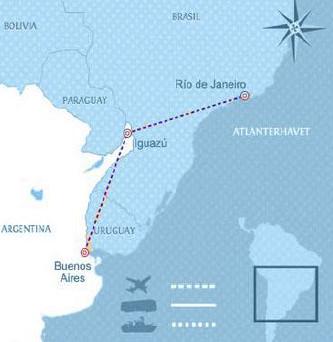 Reisekart Argentina-Brasil med Latin Reiser