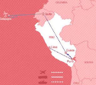 Reisekart Peru, Ecuador og Galapagos med Latin Reiser